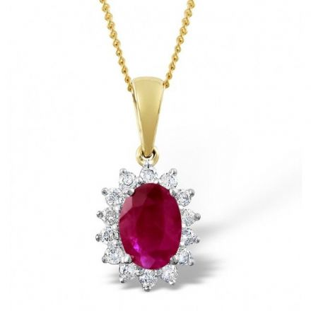 9K Gold 0.21ct Diamond & 7mm x 5mm Ruby Pendant, E2709